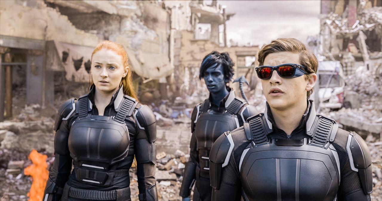 Setzen alles daran, den übermächtigen ersten Mutanten Apocalypse aufzuhalten: Jean (Sophie Turner, l.), Kurt alias Nightcrawler (Kodi Smit-McPhee, M... - Bildquelle: 2016 Twentieth Century Fox Film Corporation.  All rights reserved.  MARVEL TM &   2016 MARVEL & Subs.