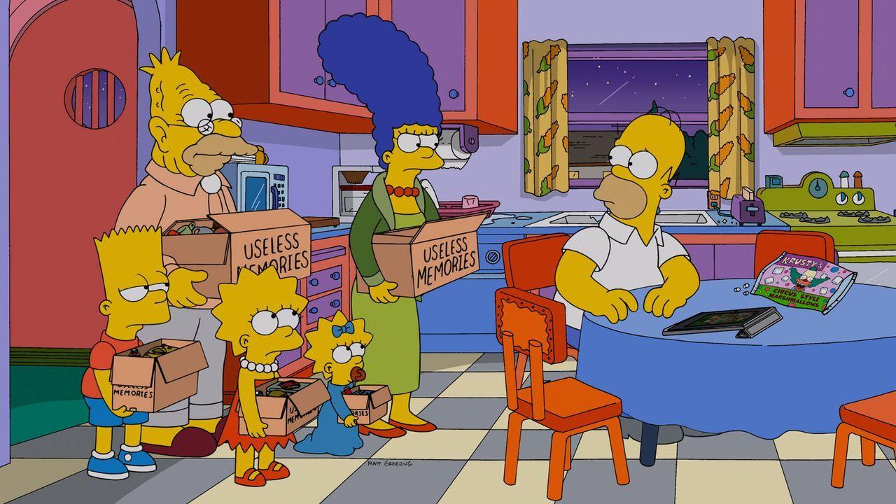 Als Marge (2.v.r.), Maggie (3.v.r.), Lisa (M.) und Bart (l.) Grampa (2.v.l.) aus dem Altenheim abholen, passt Homer (r.) auf Familienhund Knecht Rup... - Bildquelle: und TM Twentieth Century Fox Film Corporation - Alle Rechte vorbehalten