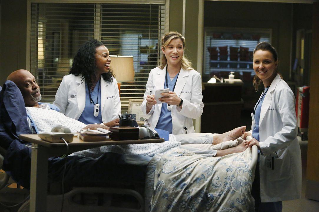 Die Sorgen um die Gesundheit von Dr. Webber (James Pickens Jr., l.) sind berechtigt. Die jungen Ärzte Stephanie (Jerrika Hinton, 2.v.l.), Leah (Tes... - Bildquelle: ABC Studios