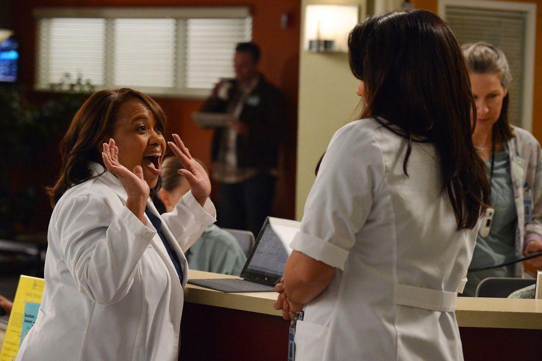 Dr. Miranda Bailey (Chandra Wilson, l.) erfährt von Callie (Sara Ramirez, r.) eine freudige Nachricht ... - Bildquelle: ABC Studios