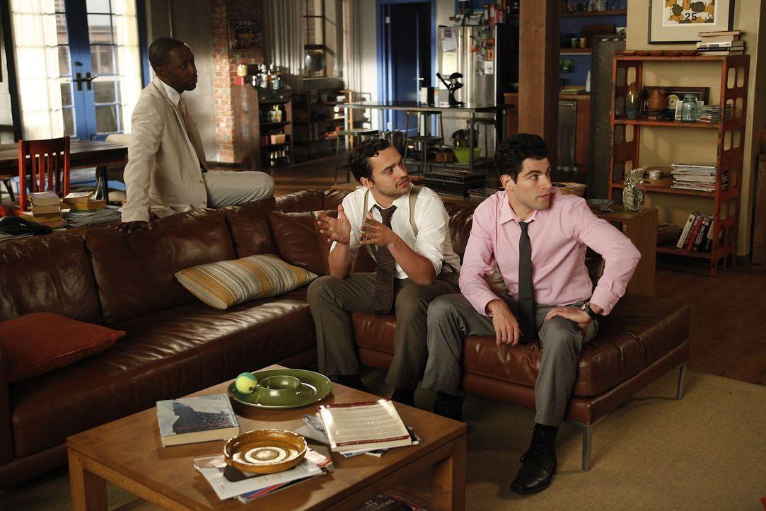 Sind auf die Hochzeit eines gemeinsames Freundes eingeladen: Schmidt (Max Greenfield, r.), Nick (Jake M. Johnson, M.) und Winston (Lamorne Morris, l... - Bildquelle: 20th Century Fox