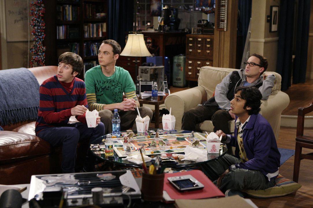(v.l.n.r.) Howard Wolowitz (Simon Helberg); Sheldon Cooper (Jim Parsons); Leonard Hofstadter (Johnny Galecki); Rajesh Koothrappali (Kunal Nayyar) - Bildquelle: Warner Bros. Television