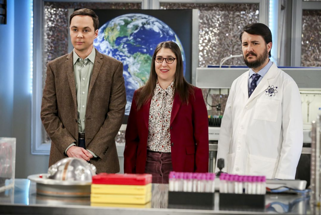 (v.l.n.r.) Sheldon Cooper (Jim Parsons); Amy Farrah Fowler (Mayim Bialik); Wil Wheaton (Wil Wheaton) - Bildquelle: Michael Yarish 2019 CBS Broadcasting, Inc. All Rights Reserved / Michael Yarish