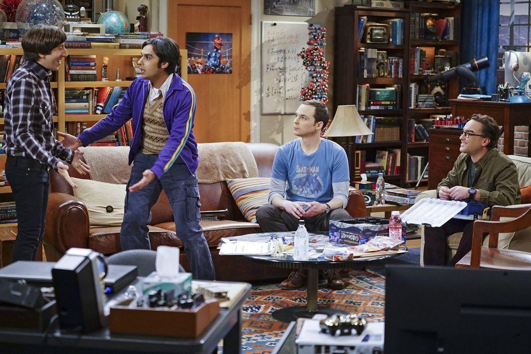 Wie werden Leonard (Johnny Galecki, r.), Raj (Kunal Nayyar, 2.v.l.) und Sheldon (Jim Parson, 2.v.r.) reagieren, wenn sie erfahren, dass Howard (Simo... - Bildquelle: 2016 Warner Brothers