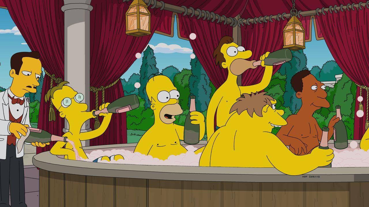 (Mitte v.l.n.r.) Professor Frink; Homer; Lenny; Barney; Carl - Bildquelle: 2019-2020 Twentieth Century Fox Film Corporation.  All rights reserved.