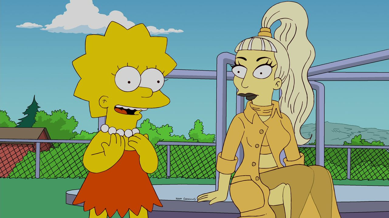 Sängerin Lady Gaga (r.) macht Halt in Springfield um der niedergeschmetterten Lisa (l.) zu helfen ... - Bildquelle: und TM Twentieth Century Fox Film Corporation - Alle Rechte vorbehalten