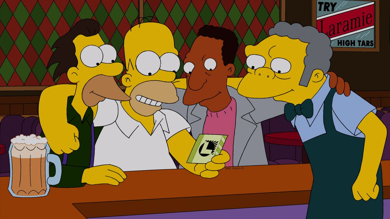 200.000 Dollar! Homer (2.v.l.), Moe (r.), Carl (2.v.r.) und Lenny (l.) können es nicht glauben: Sie haben tatsächlich den Jackpot der wöchentlichen... - Bildquelle: und TM Twentieth Century Fox Film Corporation - Alle Rechte vorbehalten