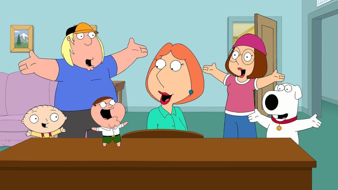 Stewie (l.), Lois (3.v.r.), Brian (r.), Megan (2.v.r.) und Chris (2.v.l.) sind von Peters Zwilling (3.v.l.) begeistert ... - Bildquelle: 2014 Twentieth Century Fox Film Corporation. All rights reserved.