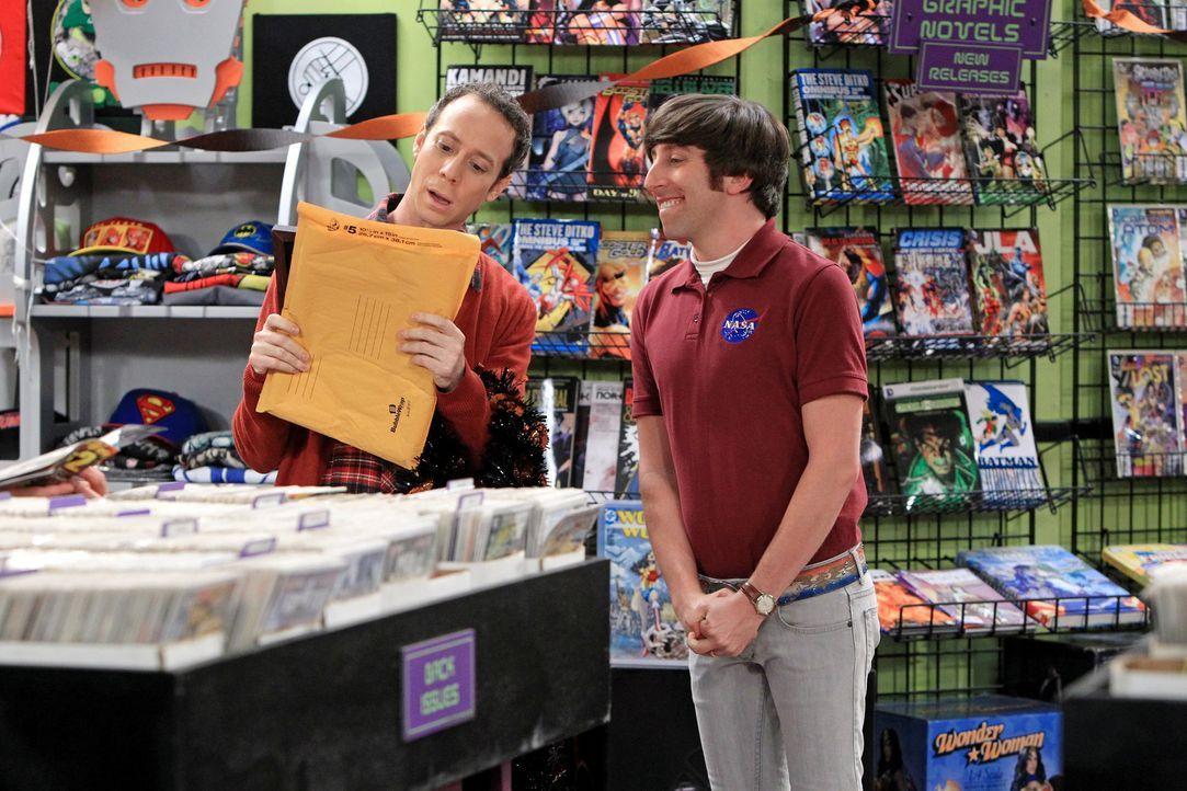 Während Stuart (Kevin Sussman, l.) die alljährliche Halloween-Party in seinem Laden feiern möchte, sind alle von Howard (Simon Helberg, r.) total ge... - Bildquelle: Warner Bros. Television