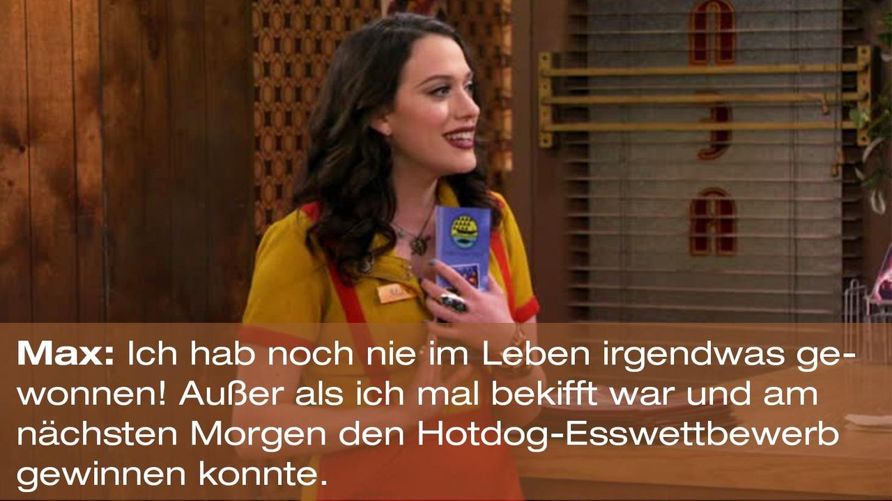 2-broke-girls-zitat-quote-staffel2-episode13-wochenende-max-hotdog-warnerpng 1600 x 900 - Bildquelle: Warner Bros. Television