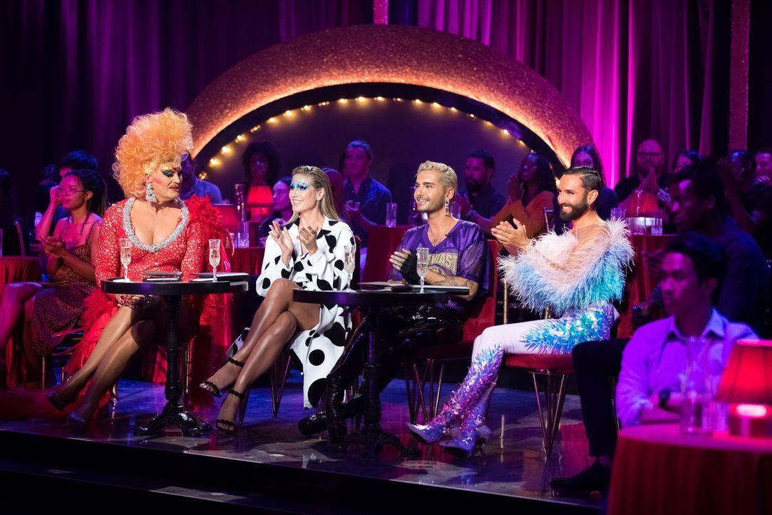 (v.l.n.r.) Olivia Jones; Heidi Klum; Bill Kaulitz; Conchita Wurst - Bildquelle: Martin Ehleben ProSieben / Martin Ehleben