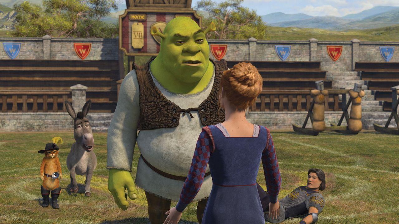 Kaum heimgekehrt, macht Shrek (M.) Prinz Charmings (r.) Schreckensherrschaft ein Ende. Doch dann erwartet ihn eine Überraschung, die ihn aus den La... - Bildquelle: TM &   2007 Dreamworks Animation LLC