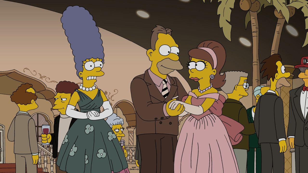 Marge (l.) stellt im Altersheim von Grandpa Abraham (M.) fest, dass die alten Leute dort von einer Schwester unter sehr starke Medikamente gesetzt w... - Bildquelle: 2015 Fox and its related entities.  All rights reserved.