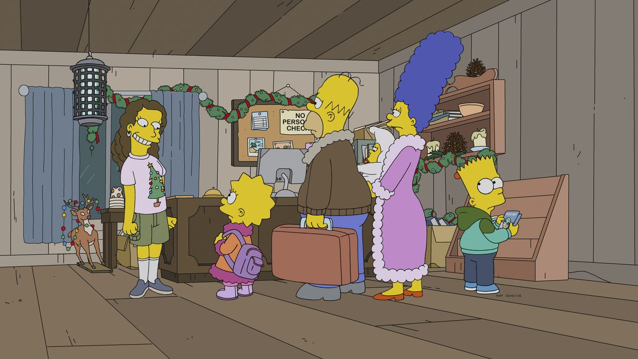 Lisa (2.v.l.); Homer (3.v.l.); Maggie (3.v.r.); Marge (2.v.r.); Bart (r.) - Bildquelle: 2018-2019 Fox and its related entities. All rights reserved.