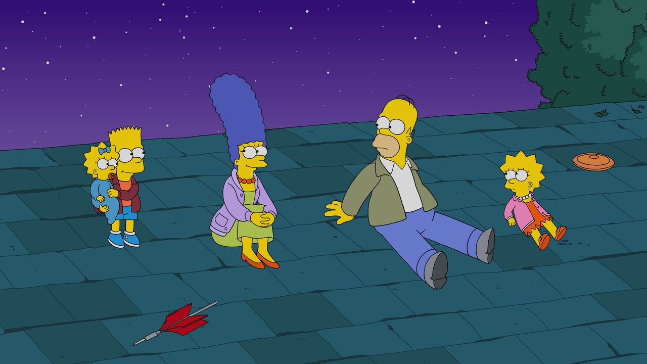 (v.l.n.r.) Maggie; Bart; Marge; Homer; Lisa - Bildquelle: 2020 by Twentieth Century Fox Film Corporation.