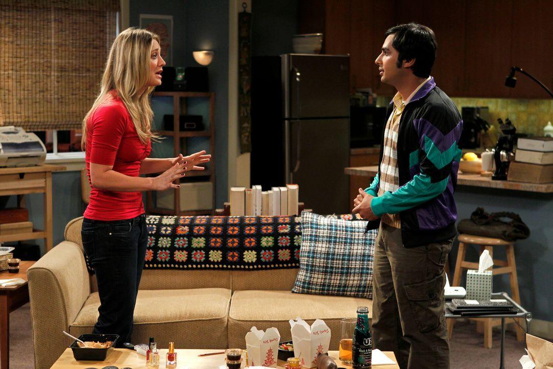 Rajesh (Kunal Nayyar, r.) gesteht Penny (Kaley Cuoco, l.), dass er gerne eine Beziehung mit ihr hätte ... - Bildquelle: Warner Bros. Television