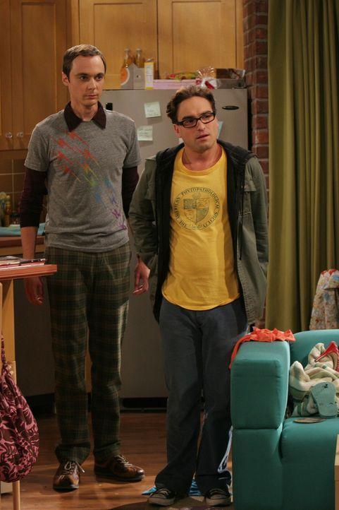 Penny erwartet eine Möbellieferung und bittet ihre Nachbarn Leonard (Johnny Galecki, r.) und Sheldon (Jim Parsons, l.), diese in Empfang zu nehmen.... - Bildquelle: Warner Bros. Television