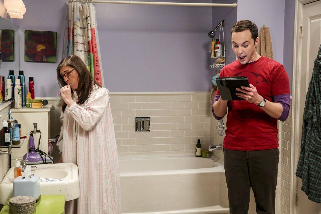 Amy (Mayim Bialik, l.) ist von Sheldons (Jim Parsons, r.) neuer Lieblingsbeschäftigung mehr als genervt ... - Bildquelle: 2016 Warner Brothers