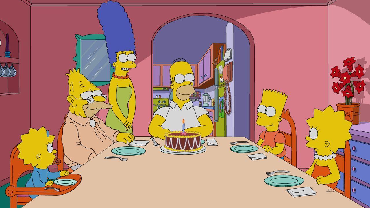 (v.l.n.r.) Maggie; Grampa; Marge; Homer; Bart; Lisa - Bildquelle: 2021 by Twentieth Century Fox Film Corporation.