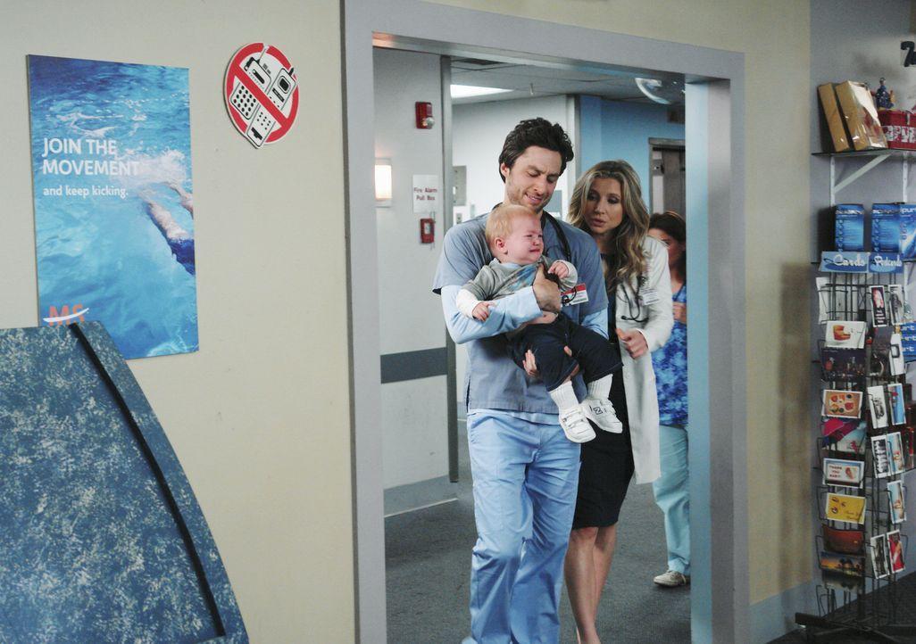Haben das Wochenende mit Sam verbracht und als sie den Kleinen zurückbringen, erleben sie eine große Überraschung: Elliot (Sarah Chalke, r.) und... - Bildquelle: Touchstone Television