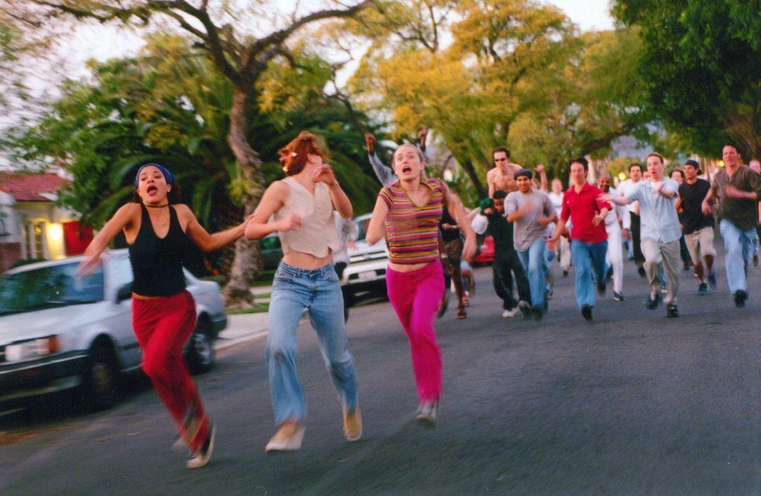 Anscheinend war der Richtige nicht dabei! (v.l.n.r.) Alex (Klean Scott), JJ (Jenny Judelle) und Kate (Kate Norby) sind auf der Flucht vor ihren zahl... - Bildquelle: Kali Films