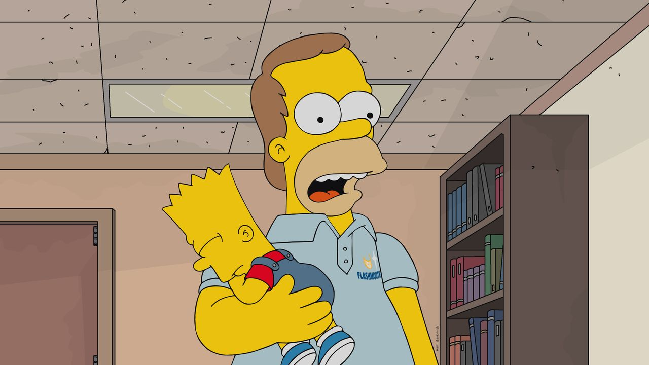 Homer (r.) erinnert sich daran, dass das Leben ohne Kinder so viel einfacher war und sich sein ganzes Leben geändert hat, als Bart (l.) auf die Welt... - Bildquelle: 2017-2018 Fox and its related entities.  All rights reserved.