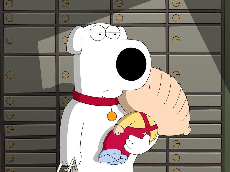 Brian (l.) macht sich in Begleitung von Stewie (r.) an seinem Bankschließfach zu schaffen, als plötzlich die Tür zum Tresorraum zufällt ... - Bildquelle: 2007-2008 Twentieth Century Fox Film Corporation. All rights reserved.