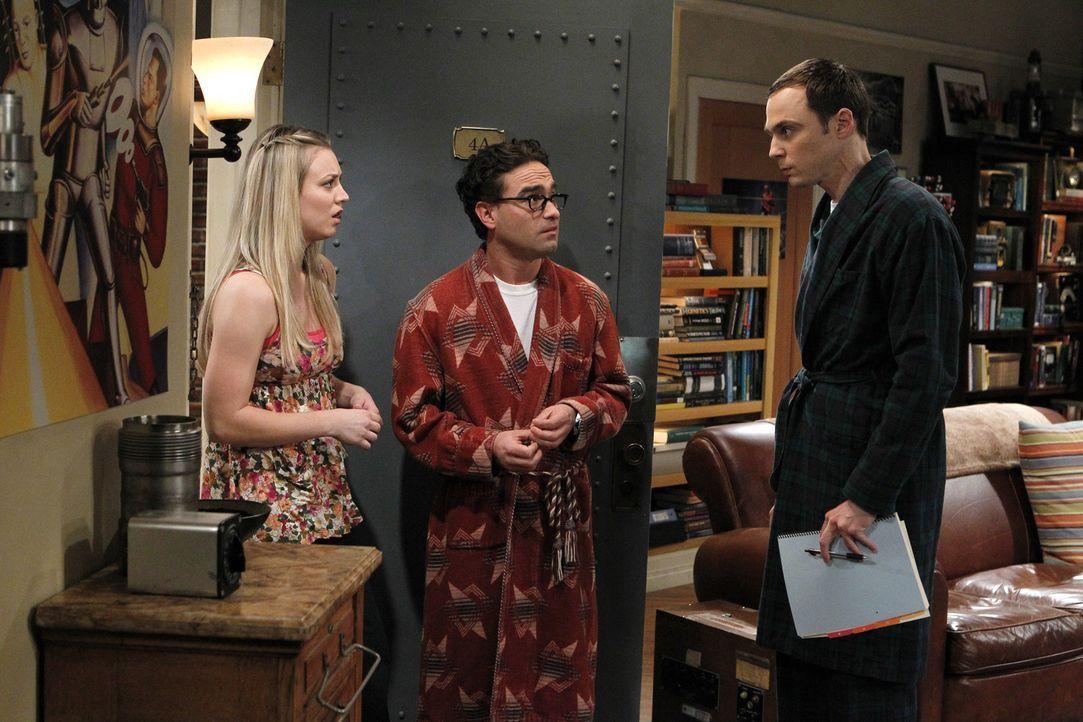 Sind sich nicht immer einig: Sheldon (Jim Parsons, r.), Leonard (Johnny Galecki, M.) und Penny (Kaley Cuoco, l.) ... - Bildquelle: Warner Bros. Television