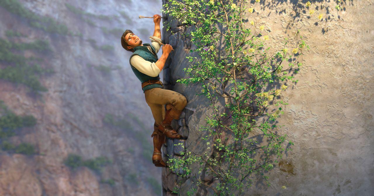 Den Turm der schönen Rapunzel zu erklimmen ist nicht einfach, aber der gewiefte Dieb Flynn Rider lässt sich davon nicht unterkriegen. Aber will das... - Bildquelle: Disney.  All rights reserved