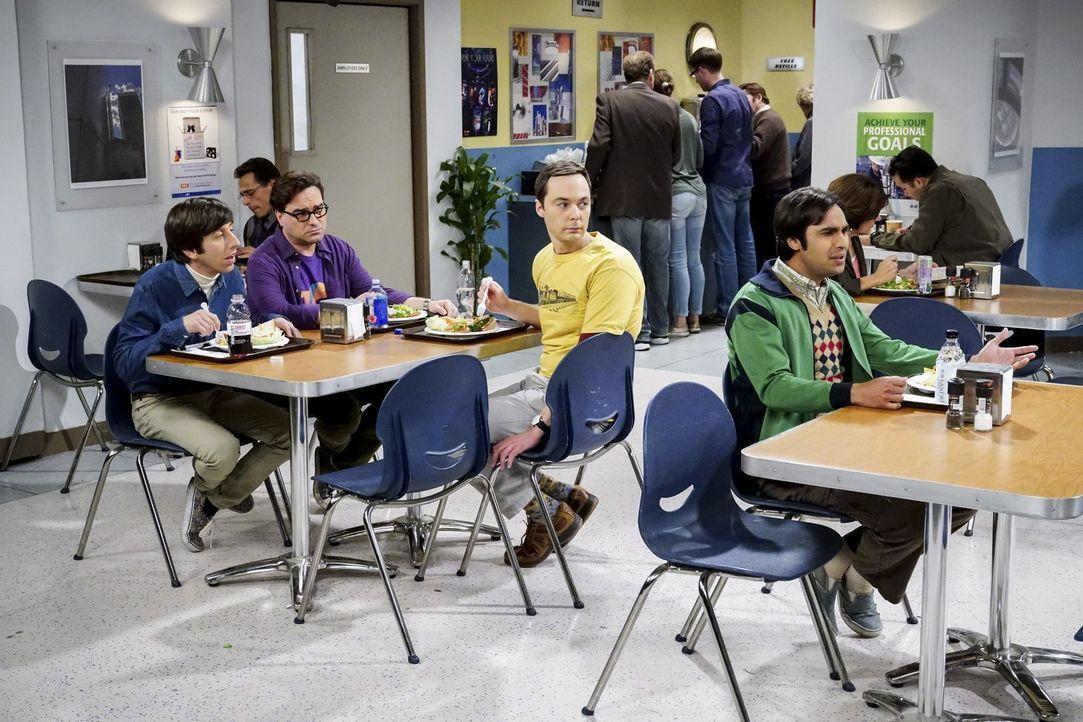 Raj (Kunal Nayyar, r.) trifft eine Entscheidung, die nicht nur Howard (Simon Helberg, l.), sondern auch Leonard (Johnny Galecki, 2.v.l.) und Sheldon... - Bildquelle: Warner Bros. Television