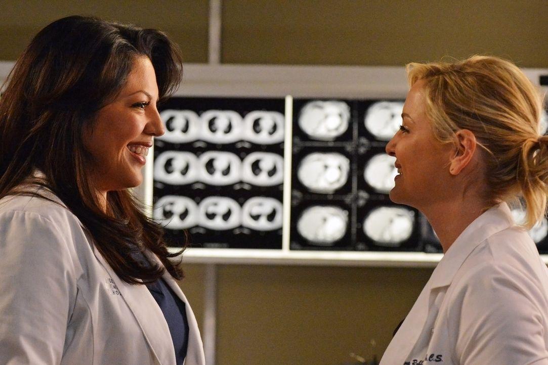Arizona (Jessica Capshaw, r.) benutzt eine neue Prothese, mit der sie sich zum ersten Mal seit ihrer Beinamputation wieder gut fühlt und Callie (Sa... - Bildquelle: ABC Studios