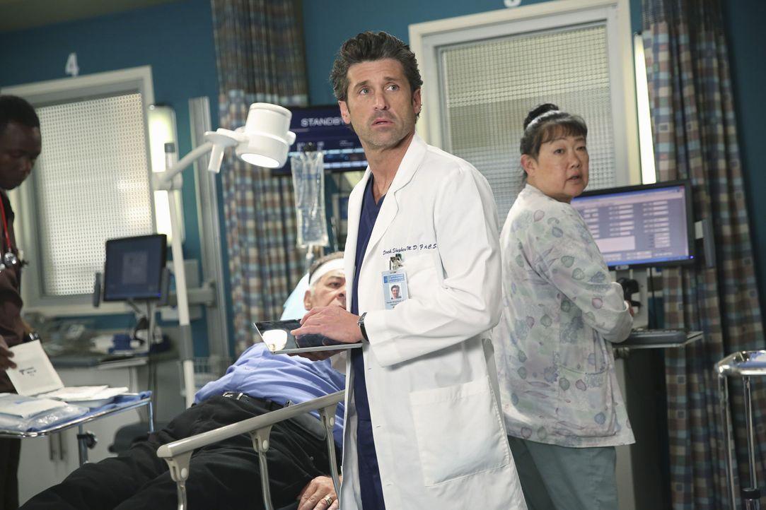 Wird durch einen Zwischenfall von seiner traurigen Vergangenheit eingeholt: Derek (Patrick Dempsey, M.) ... - Bildquelle: ABC Studios