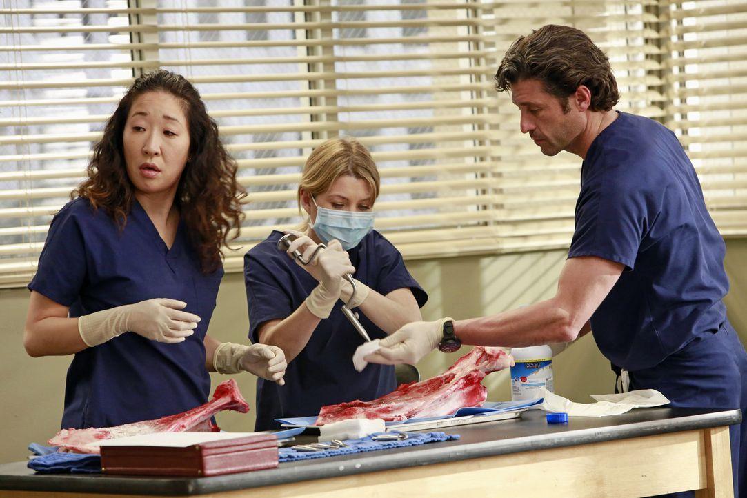 Christina (Sandra Oh, l.), Meredith (Ellen Pompeo, M.) und Derek (Patrick Dempsey, r.) sammeln Ideen, wie sie verschiedenste operative Eingriffe in... - Bildquelle: ABC Studios