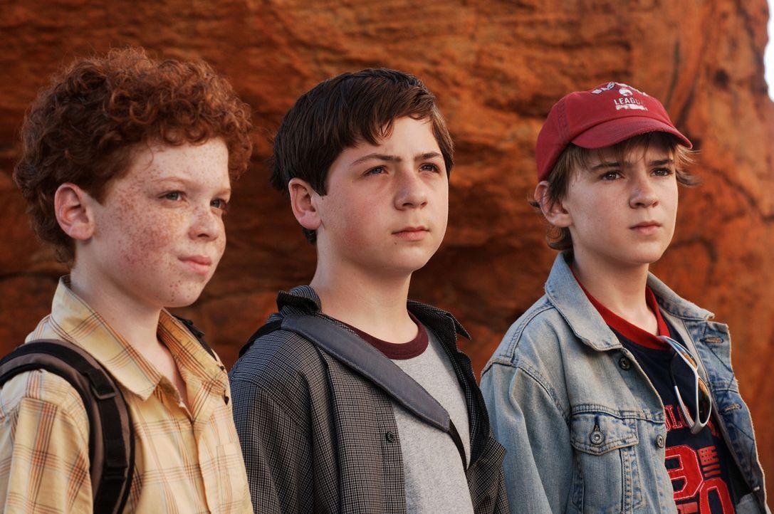 In Südafrika gehen die drei Fragezeichen Justus (Chancellor Miller, M.), Peter (Nick Price, r.) und Bob (Cameron Monaghan, l.) dem Geheimnis einer H... - Bildquelle: Buena Vista Pictures