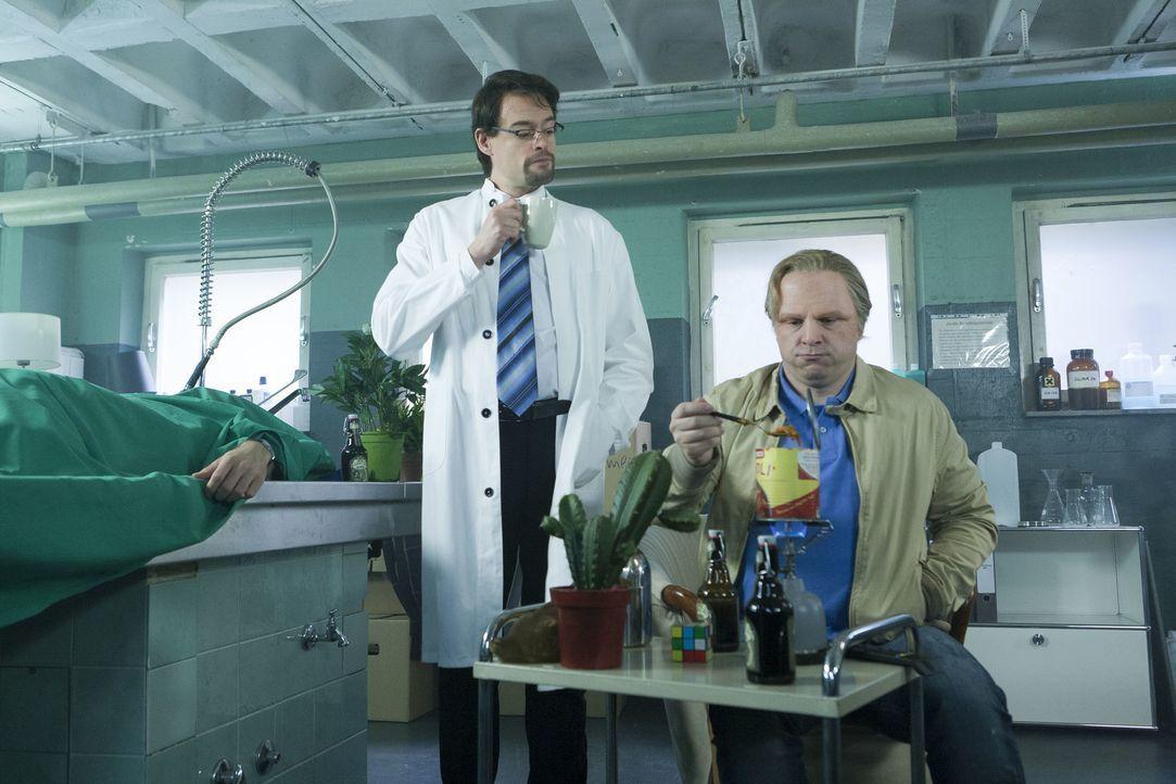 Zwischen eingelegten Embryos und abgedeckten Leichen richtet sich Kommissar Thiel (Martin Klempnow, r.) ein neues Zuhause ein. Sein Vermieter Boerne... - Bildquelle: Kai Schulz ProSieben / Kai Schulz