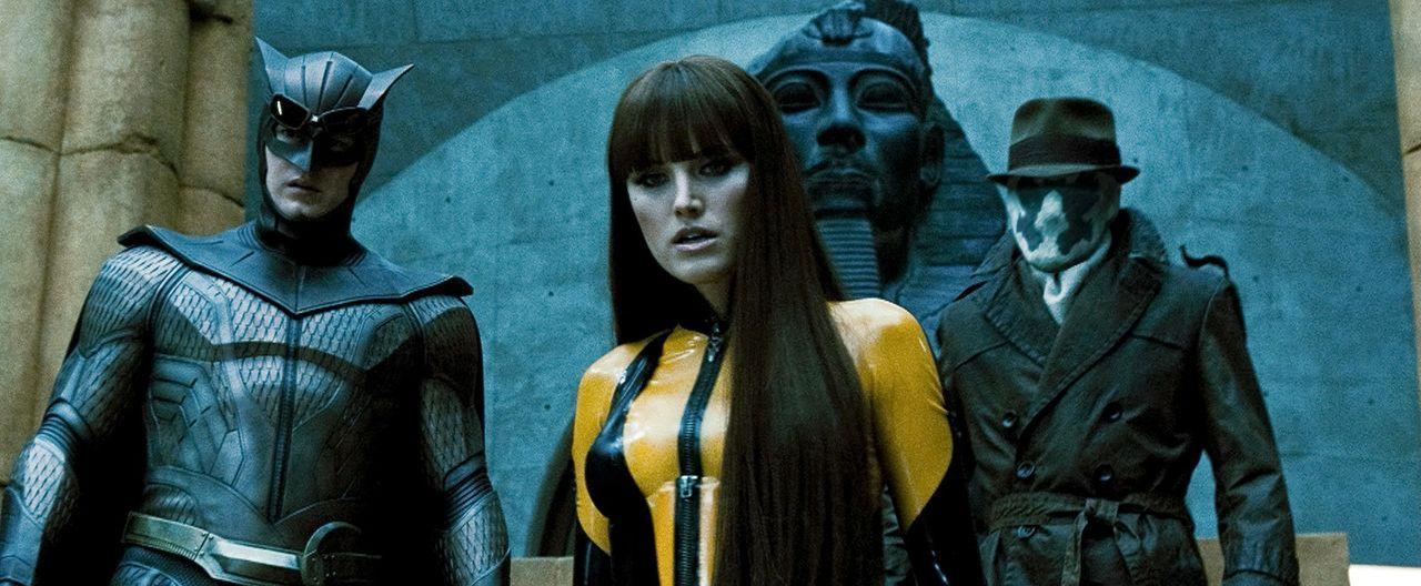 Ahnen noch nicht, dass der Feind in ihren eigenen Reihen zu finden ist: (v.l.n.r.) Night Owl II (Patrick Wilson), Silk Spectre II (Malin Akerman) un... - Bildquelle: Paramount Pictures