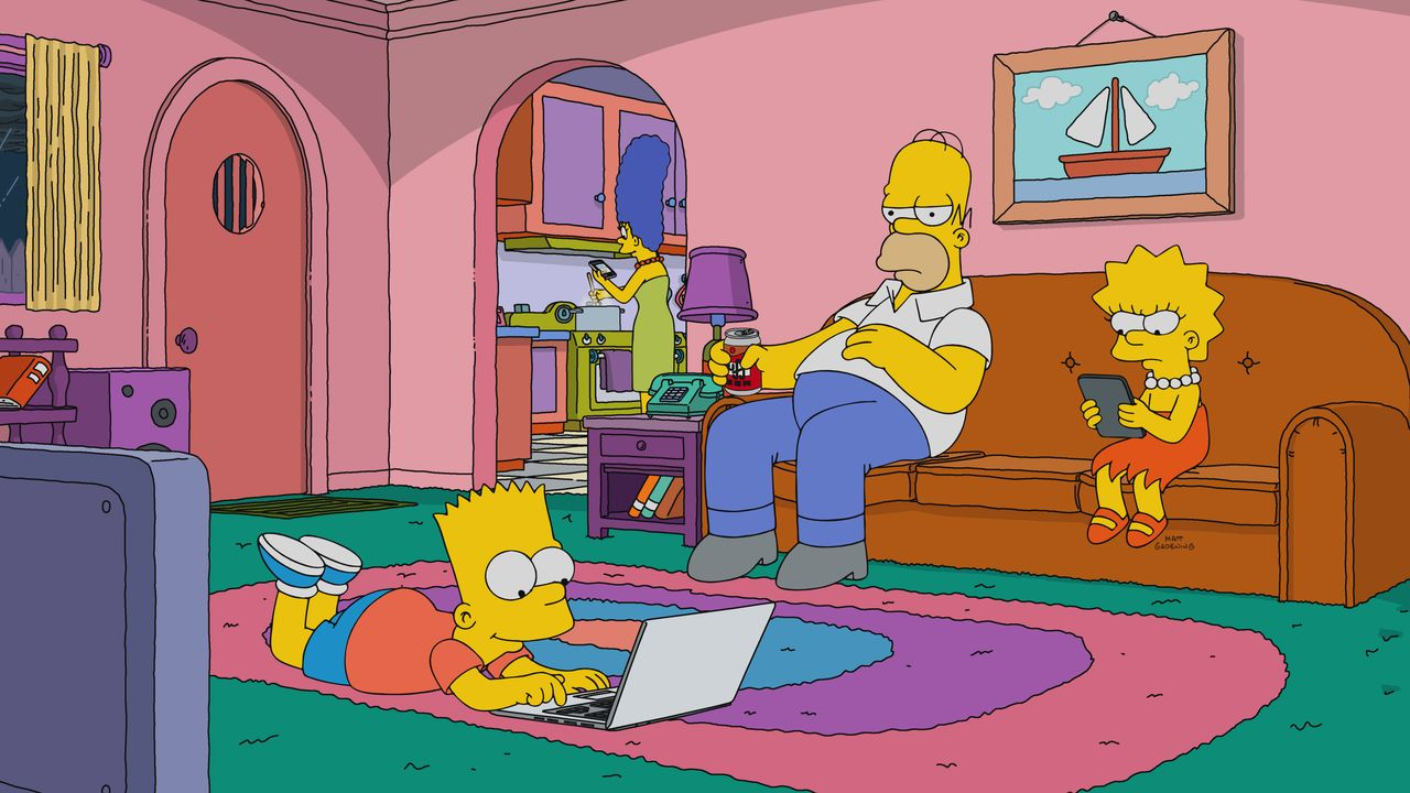 (v.l.n.r.) Bart; Marge; Homer; Lisa - Bildquelle: 2017-2018 Fox and its related entities.  All rights reserved.