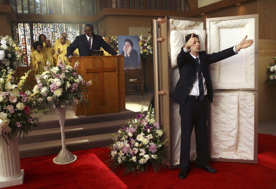 J.D. (Zach Braff, r.) malt sich aus, wie seine Beerdienung sein könnte ... - Bildquelle: Touchstone Television