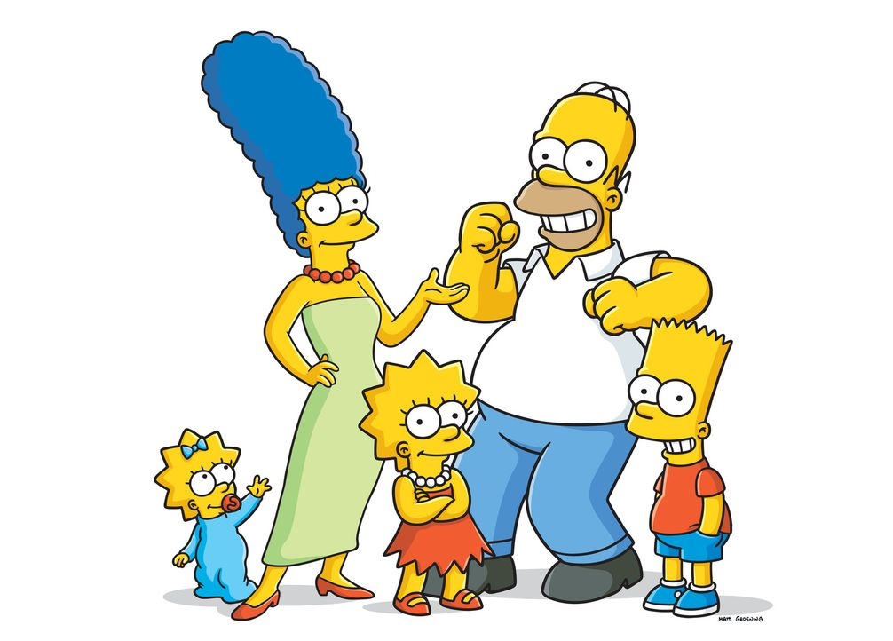 (26. Staffel) - Eine Familie mit ganz besonderem Pfiff: Maggie (l.), Marge (2.v.l.), Homer (2.v.r.), Bart (r.) und Lisa Simpson (M.) ... - Bildquelle: 2014 Fox and its related entities. All rights reserved