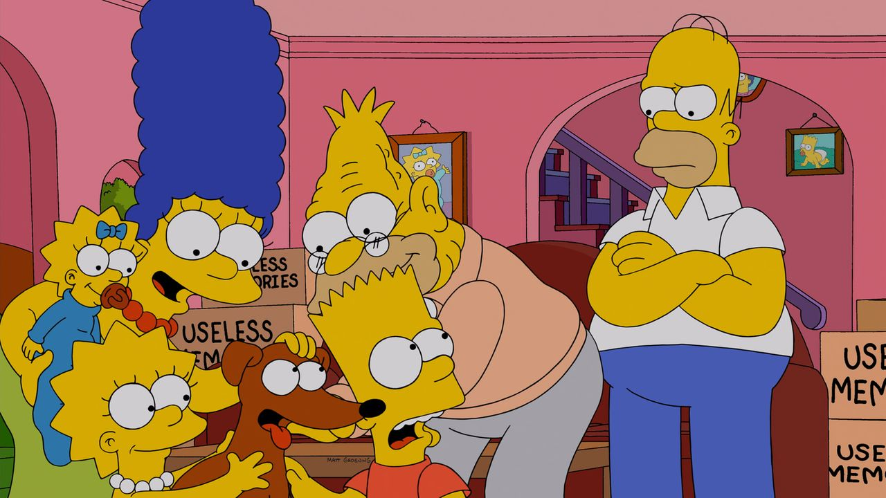 Während Marge (2.v.l.), Maggie (l.), Lisa (3.v.l.) und Bart (3.v.r.) Grampa (2.v.r.) aus dem Altenheim abholen, passt Homer (r.) auf Familienhund Kn... - Bildquelle: und TM Twentieth Century Fox Film Corporation - Alle Rechte vorbehalten
