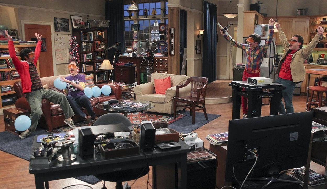 Männerabend: Howard (Simon Helberg, 2.v.r.), Sheldon (Jim Parsons, 2.v.l.), Leonard (Johnny Galecki, r.) und Raj (Kunal Nayyar, l.) ... - Bildquelle: Warner Bros. Television