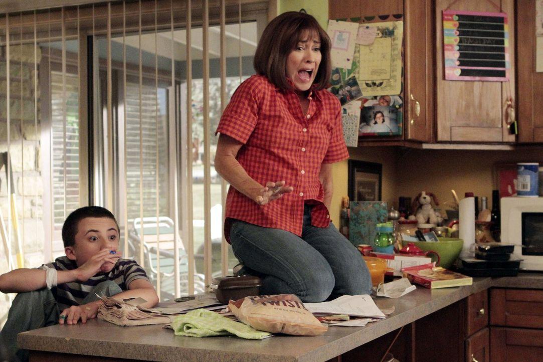Weil der Therapeut Frankie (Patricia Heaton, r.) und Mike rät, für Brick (Atticus Shaffer, l.) ein Haustier anzuschaffen, damit er soziales Verhalte... - Bildquelle: Warner Brothers