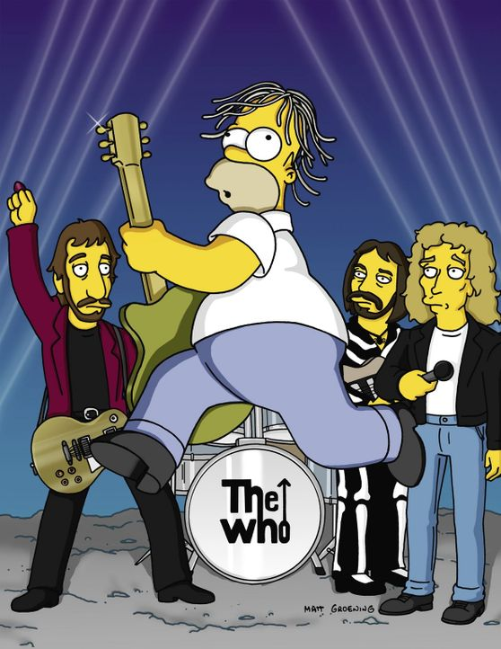 "Homer (M.) bei einem Auftritt mit der Rockgruppe ""The Who"". - Bildquelle: TM +   2000 Twentieth Century Fox Film Corporation. All Rights Reserved."