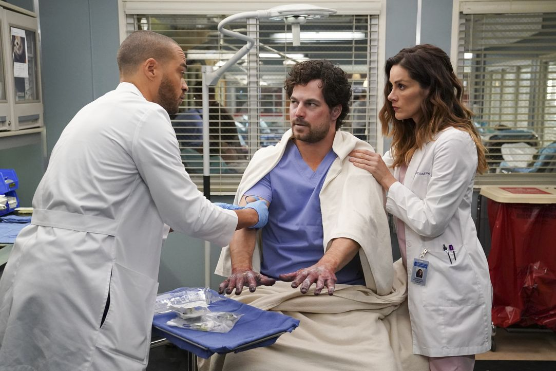 (v.l.n.r.) Dr. Jackson Avery (Jesse Williams); Dr. Andrew DeLuca (Giacomo Gianniotti); Dr. Carina DeLuca (Stefania Spampinato) - Bildquelle: Gilles Mingasson 2020 American Broadcasting Companies, Inc. All rights reserved. / Gilles Mingasson
