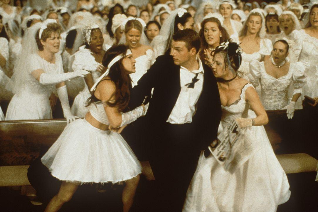 Angelockt durch ein Zeitungsinserat wird Jimmy (Chris O'Donnell, M.) von heiratswilligen Mädels belagert, die alle nur einen Millionenerben eheliche... - Bildquelle: New Line Cinema