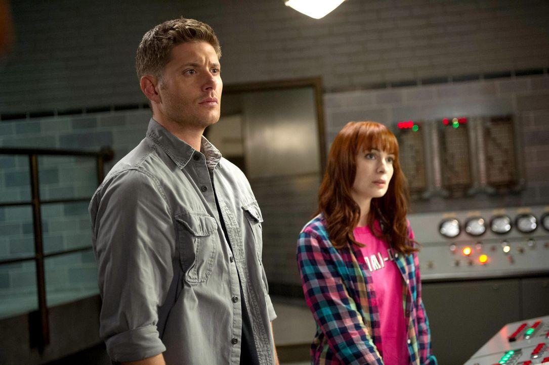 Dean (Jensen Ackles, l.) ist entsetzt, als er erfährt, dass Charlie (Felicia Day, r.) alleine auf die Jagd gegangen ist. Doch dann haben sie plötzli... - Bildquelle: 2013 Warner Brothers