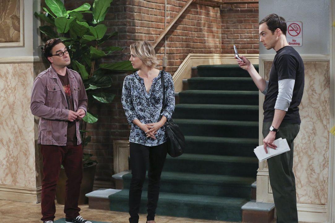 Sie wollten es Sheldon (Jim Parsons, r.) schonend beibringen: Leonard (Johnny Galecki, l.) wird bei ihm aus- und bei Penny (Kaley Cuoco, M.) einzieh... - Bildquelle: 2015 Warner Brothers