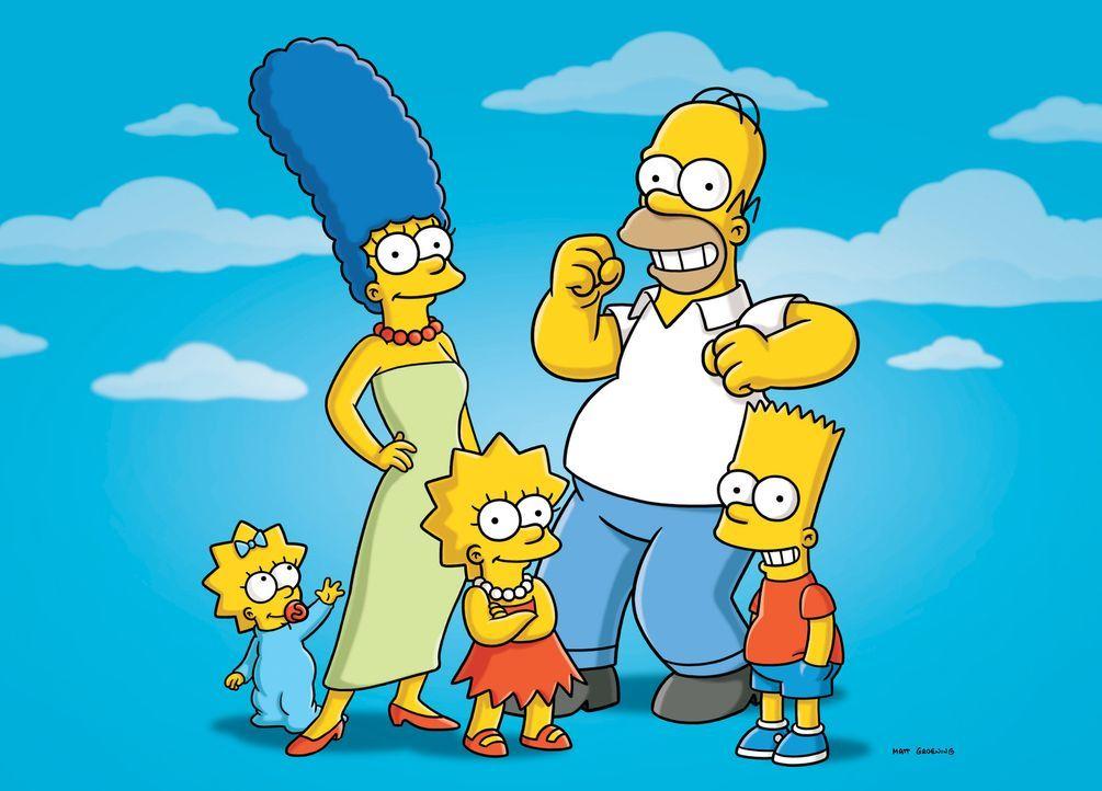 (24. Staffel) - Eine nicht alltägliche Familie: Marge (2.v.l.), Maggie (l.), Bart (r.), Lisa (M.) und Homer Simpson (2.v.r.) ... - Bildquelle: und TM Twentieth Century Fox Film Corporation - Alle Rechte vorbehalten