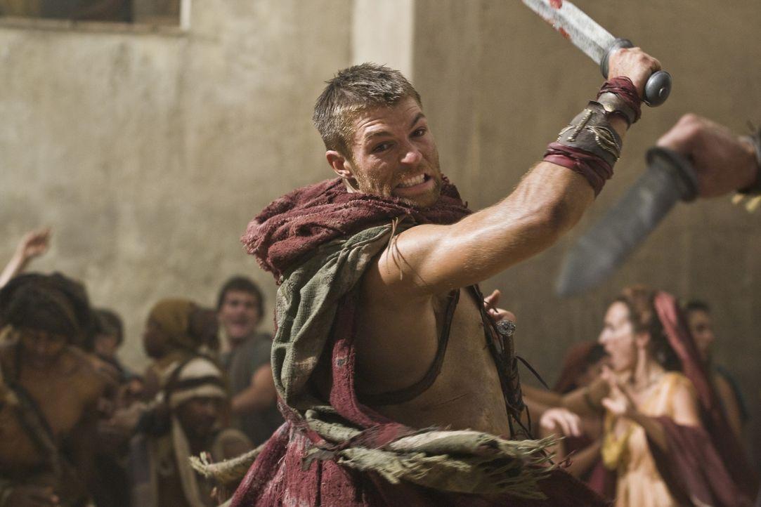Als Glaber vor den Einwohner von Capua eine Rede hält und dabei die gequälte Aurelia zur Schau stellt, rastet Spartacus (Liam McIntyre) total aus... - Bildquelle: 2011 Starz Entertainment, LLC. All rights reserved.