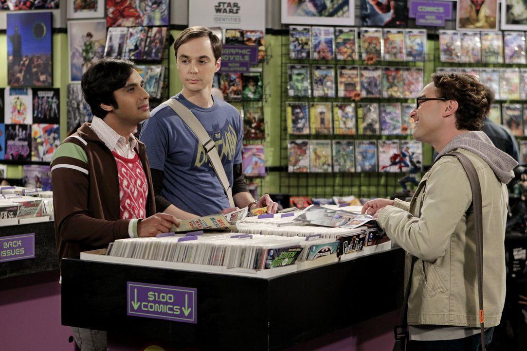 Während Sheldon (Jim Parsons, M.) und Leonard (Johnny Galecki, r.) ein Date haben, wird Raj (Kunal Nayyar, l.) mit seiner Einsamkeit konfrontiert ... - Bildquelle: Warner Bros. Television